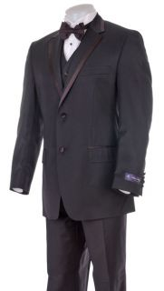 Sean John Mens Black 2 Button Three Piece Tuxedo