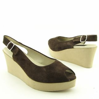 Steven Steve Madden Womens Avenues Brown Slingback Wedges