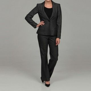 Anne Klein Womens Slate Single Breasted Pant Suit