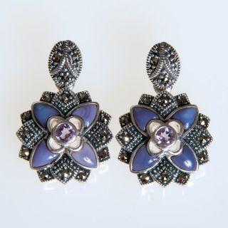 Sterling Silver and Enamel Amethyst Earrings (India)
