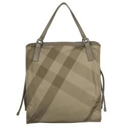 Burberry 3753612 Green Check Nylon Tote Bag