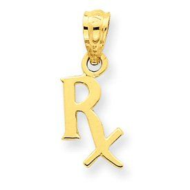 14k Prescription Symbol RX Pendant   Measures 17x7mm