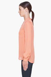 Haute Hippie Peach Silk Henley Blouse for women