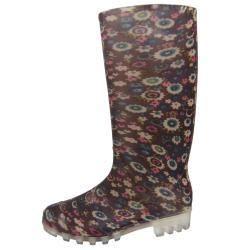 Adi Designs Womens Floral Print Rain Boots