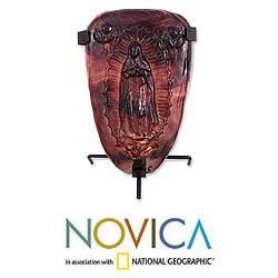 Blown Glass Plum Light of Guadalupe Candleholder (Mexico