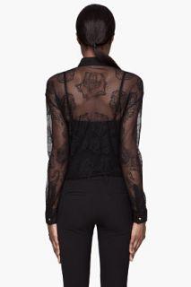 Versace Black Lace Mesh Blouse for women