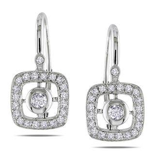 Miadora 14k White Gold 1/2ct TDW Diamond Leverback Earrings (G H, SI1