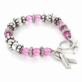 Stainless Steel Pink Crystal Breast Cancer Awareness Bracelet