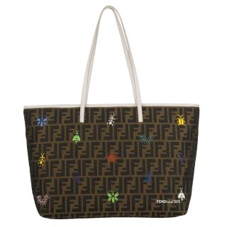 Fendi Brown Zucca Insect Canvas Tote Bag