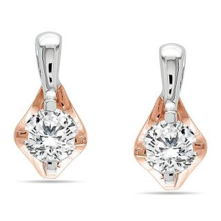 10k Two tone Gold 1/2ct TDW Diamond Stud Earrings (G H, I2 I3