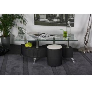 SURF Table basse Noir & 2 poufs assortis   Achat / Vente TABLE BASSE