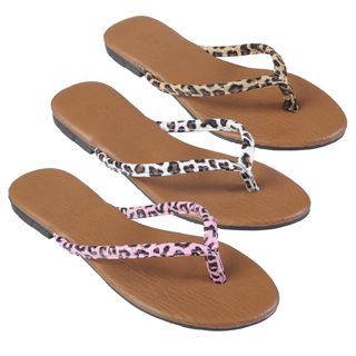 Journee Collection Womens Gavina Leopard Print Flip flops
