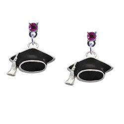 Graduation Cap Hot Pink Swarovski Post Charm Earrings