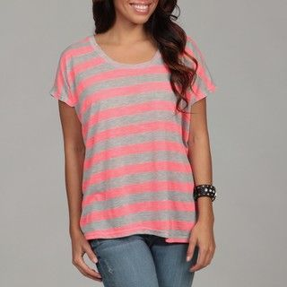 Pretty Rebellious Juniors Neon Pink Stripe Tee