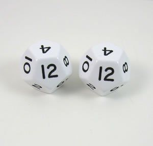 White Jumbo Polyhedral 12 Sided Dice   Set of 2 Toys
