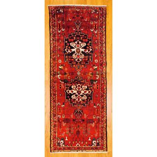 Persian Hand knotted Red/ Beige Tribal Hamadan Wool Rug (311 x 102