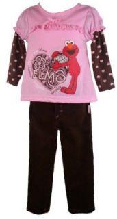 Sesame Street Elmo Toddler Girls Pink Top Brown Corduroy