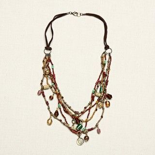 Glass Goldtone and Brown Multi strand Beaded Necklace (India