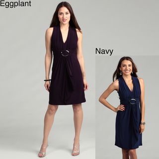 Scarlett Womens Navy Ruffle Front Jersey Knit Dress FINAL SALE