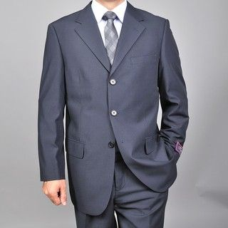 Carlo Lusso Mens Navy Blue Three button Suit