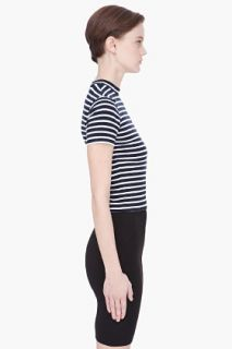 T By Alexander Wang White And Black Striped Shrunken T shirt for women