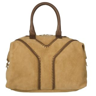 Yves Saint Laurent Beige Suede Satchel Bag