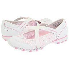Skechers Peekaboo White/Pink Flats