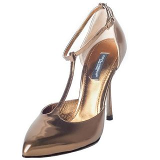 Dolce & Gabbana Womens Leather Gold T strap Pumps Was $299.99 Today