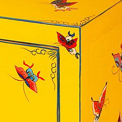 Hand painted Butterflies Two door Storage Cabinet