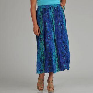 La Cera Womens Plus Reversible Printed Broomstick Skirt