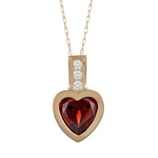 14k Yellow Gold Garnet and Diamond Accent Heart Necklace