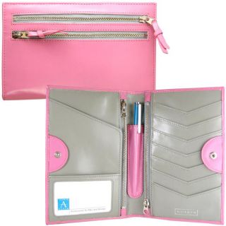 Alicia Klein Womens Tour One Pink Leather Bi fold Wallet