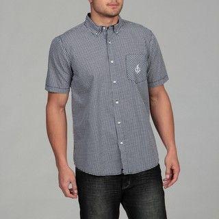 Generra Mens Blue/ White Checkered Woven Shirt
