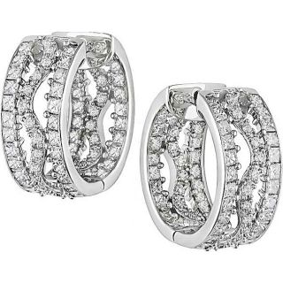 Miadora 18k White Gold 3ct TDW Diamond Hoop Earrings (G H, SI1 SI2
