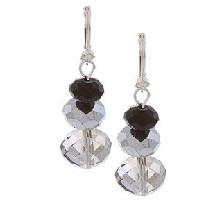 Alexa Starr Silvertone Stacked Crystal Bead Earrings