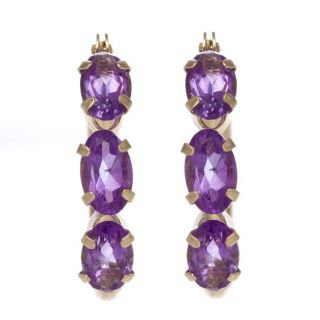 14k Yellow Gold Amethyst Hoop Earrings