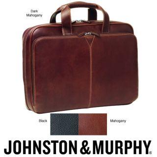 Johnston & Murphy Leather Slimline Laptop Briefcase