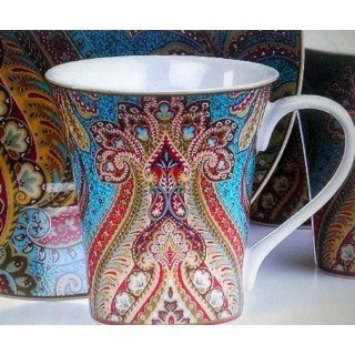 222 Fifth, Demure Turquoise Paisley Replacement Coffee Mug