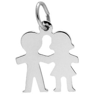 Rembrandt Charms Boy and Girl Charm, 14K White Gold