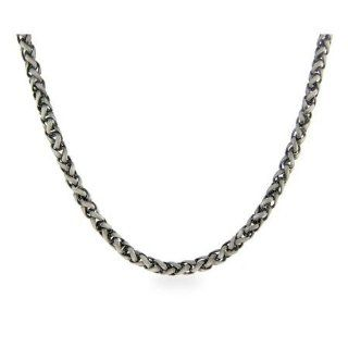 Italian Wheat Chain Mens Sterling Silver Necklace Eves