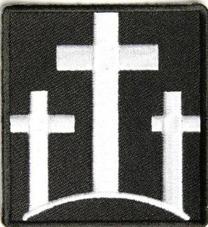 Three Crosses Patch, 2.25x2.5 inch, small embroidered iron