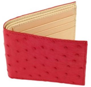 Mens Red Ostrich Quill Leather Bi Fold Slim Wallet