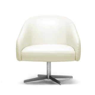 Balmorale Ivory Leather Modern Swivel Chair