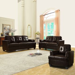 Cartona Dark Brown Bonded Leather Tufted 3 piece Living Room Set Today