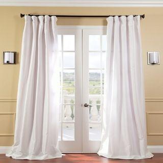 Signature White Faux Silk 108 inch Curtain Panel