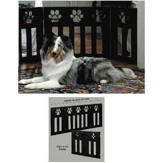 Paw Decor Wooden 3 Section Folding Pet Gate (Black)