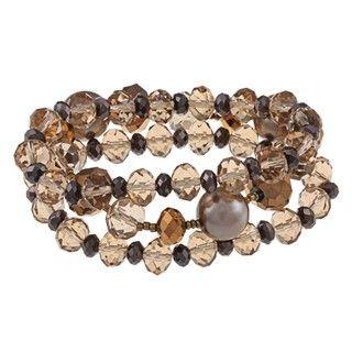 Alexa Starr Three Row Grey Pearl and Crystal Stretch Bracelets