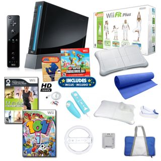 Wii   Black Super Mario Bundle with Wii Fit Plus and More