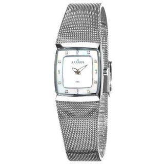 Skagen Womens Steel Mother of Pearl Dial Diamond Watch