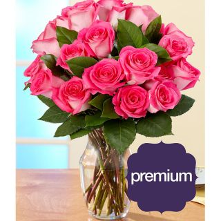 Mothers Day Preorder) 18 Pink Pearl Roses with Large Vase